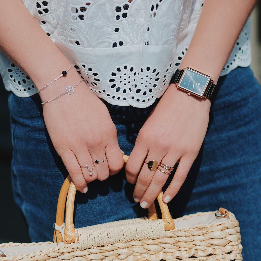 Bague montre noir onyx bijoux made in france aglaiaco