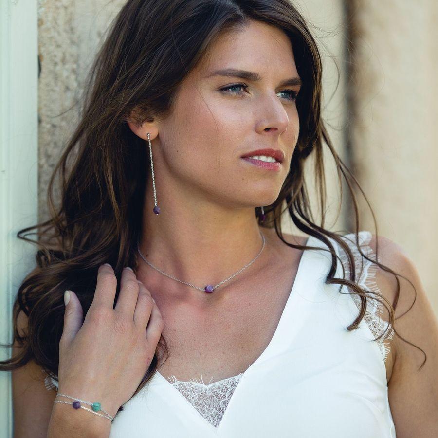 Aglaiaco bijoux argent pierre france ethique flower collier rubis 2