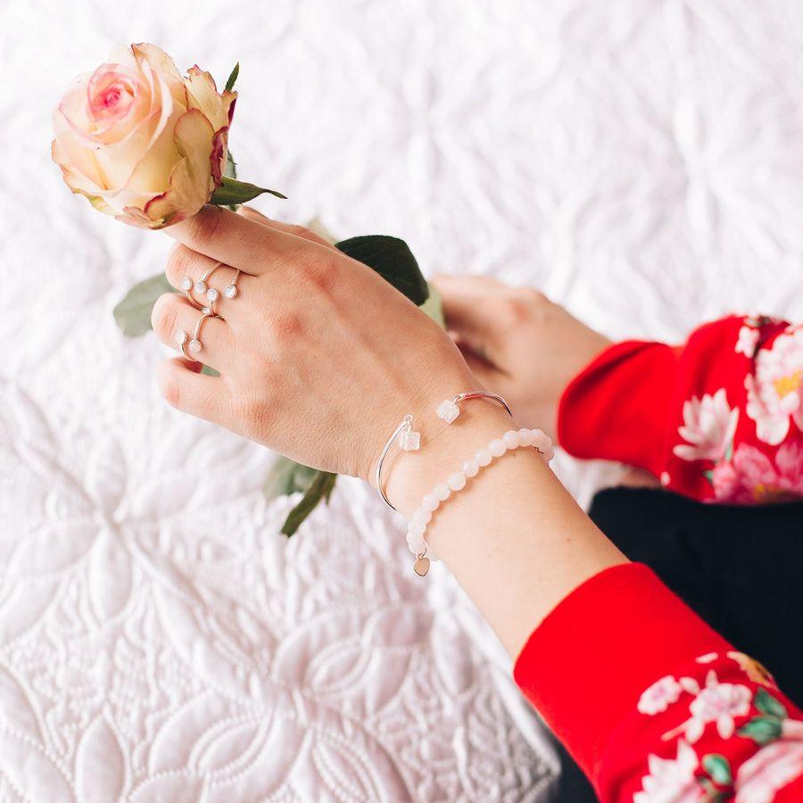 Bague quartz argent bracelet jonc pink lady aurela aglaiaco