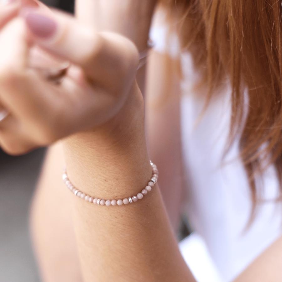 Bracelet rose rhodonite pierre bijoux aglaiaco %281%29