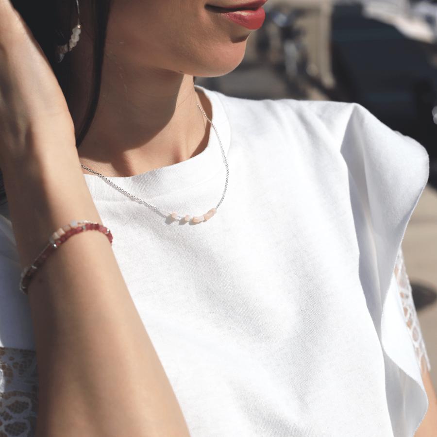 Bracelet collier argent pierre rose quartz pink agaiaco