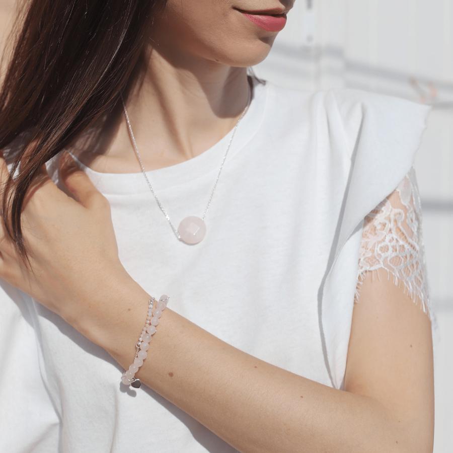 Bracelet collier quartz pierre pink aglaiaco