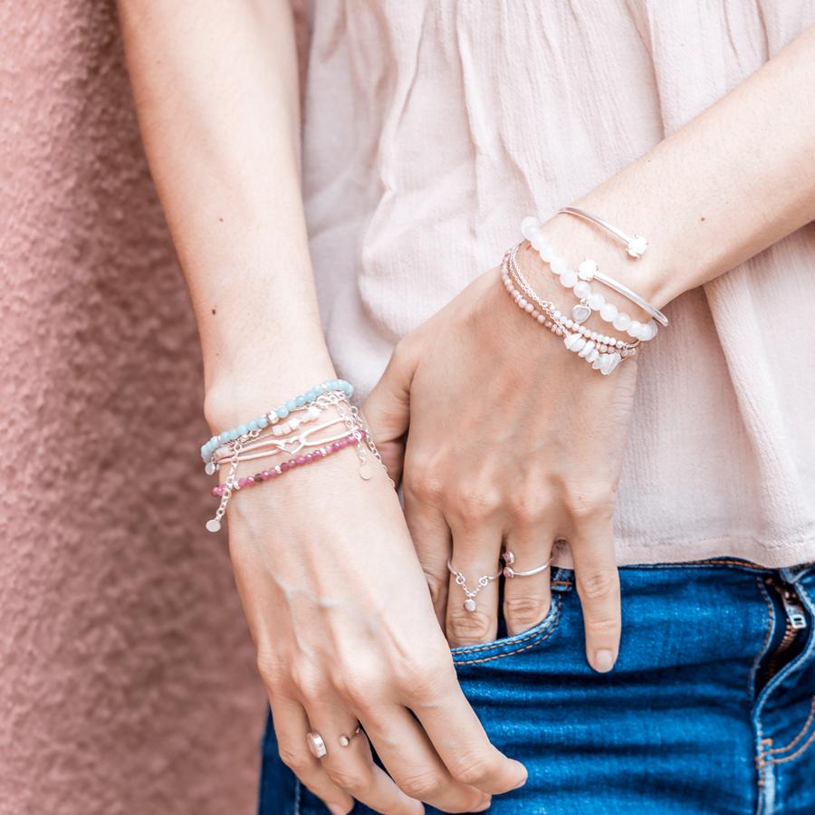 Bracelet pink rose pierre manchette bijoux argent aglaiaco %284%29