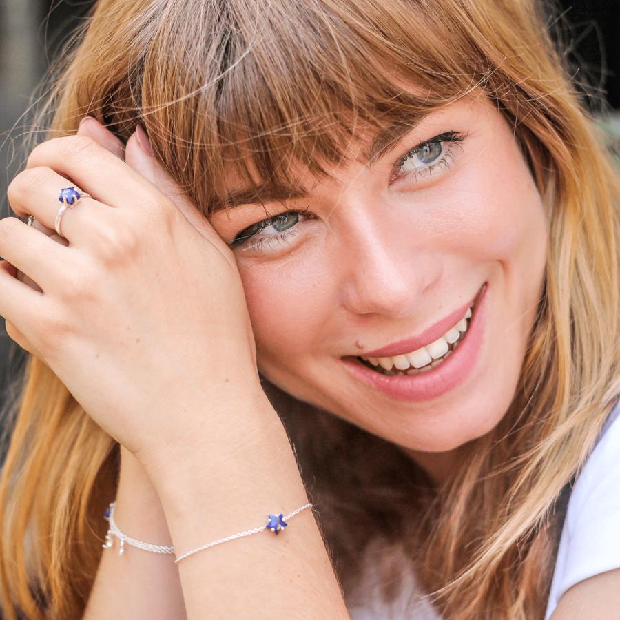 Bijoux argent etoile lune lapis lazuli bleu aglaiaco %281%29