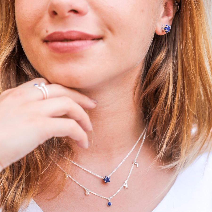 Bijoux argent etoile lune lapis lazuli bleu aglaiaco %285%29