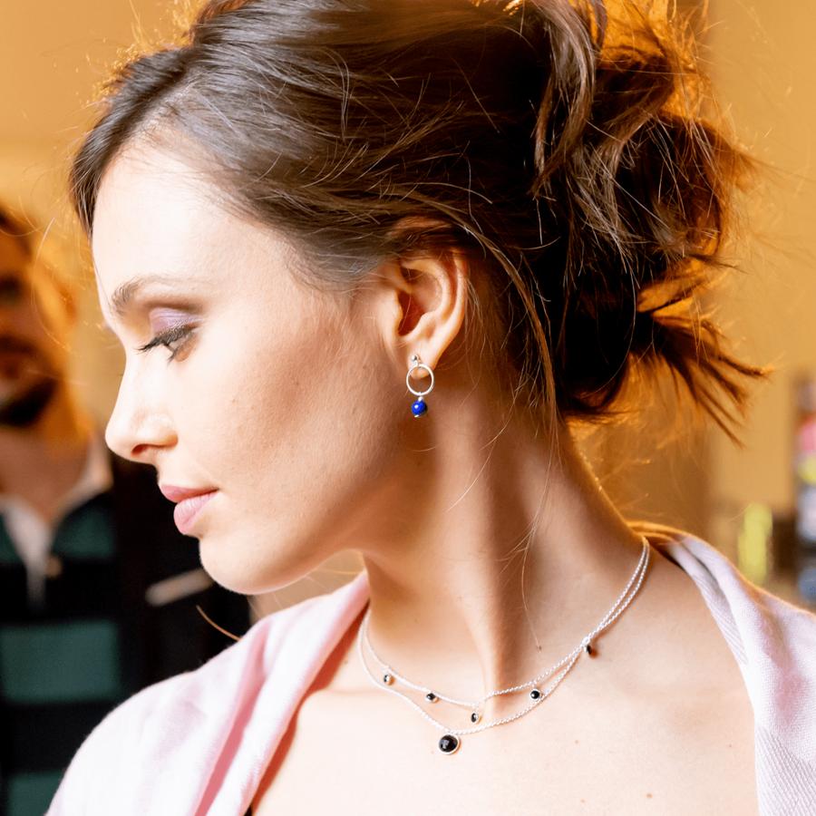 Bijoux onyx lapis lazuli collier boucles aglaiaco