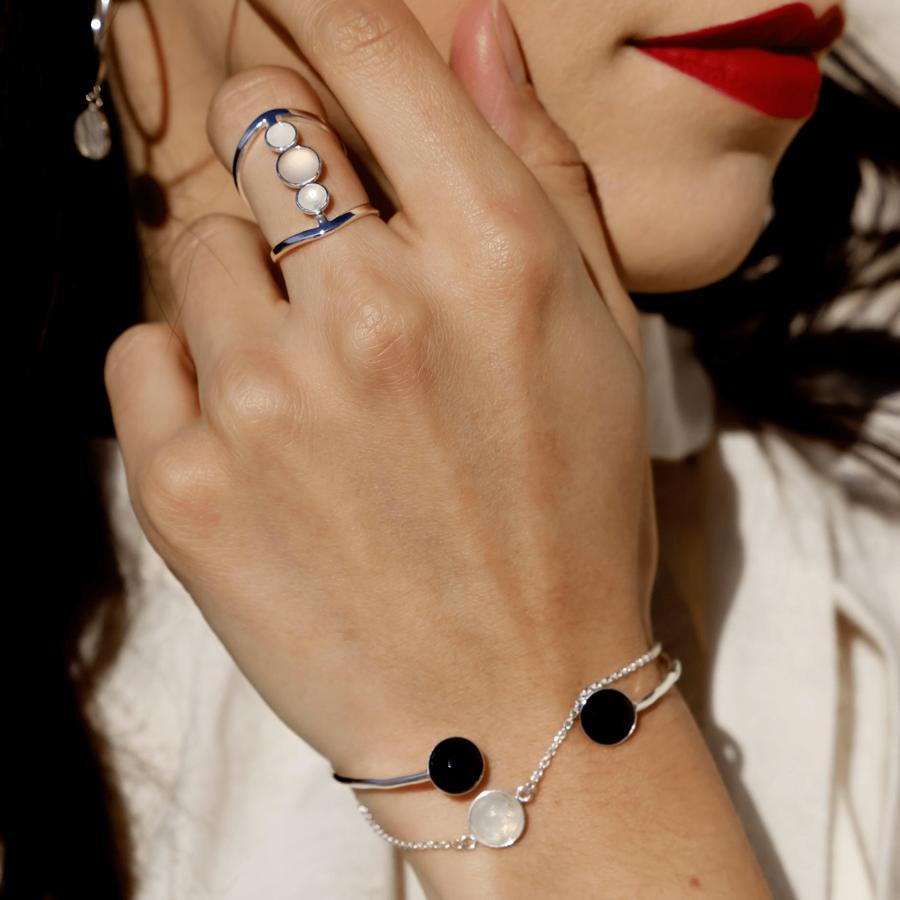 Bracelet jonc onyx pierre lune argent aglaiaco