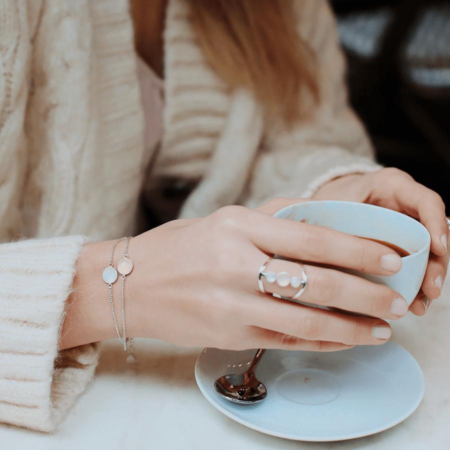 Bague bracelet argent massif bijoux pierre lune calcedoine rose aglaiaco