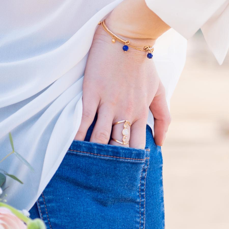 Bijoux %c3%a9thique plaqu%c3%a9 or lapis lazuli bracelet jonc bague aglaia