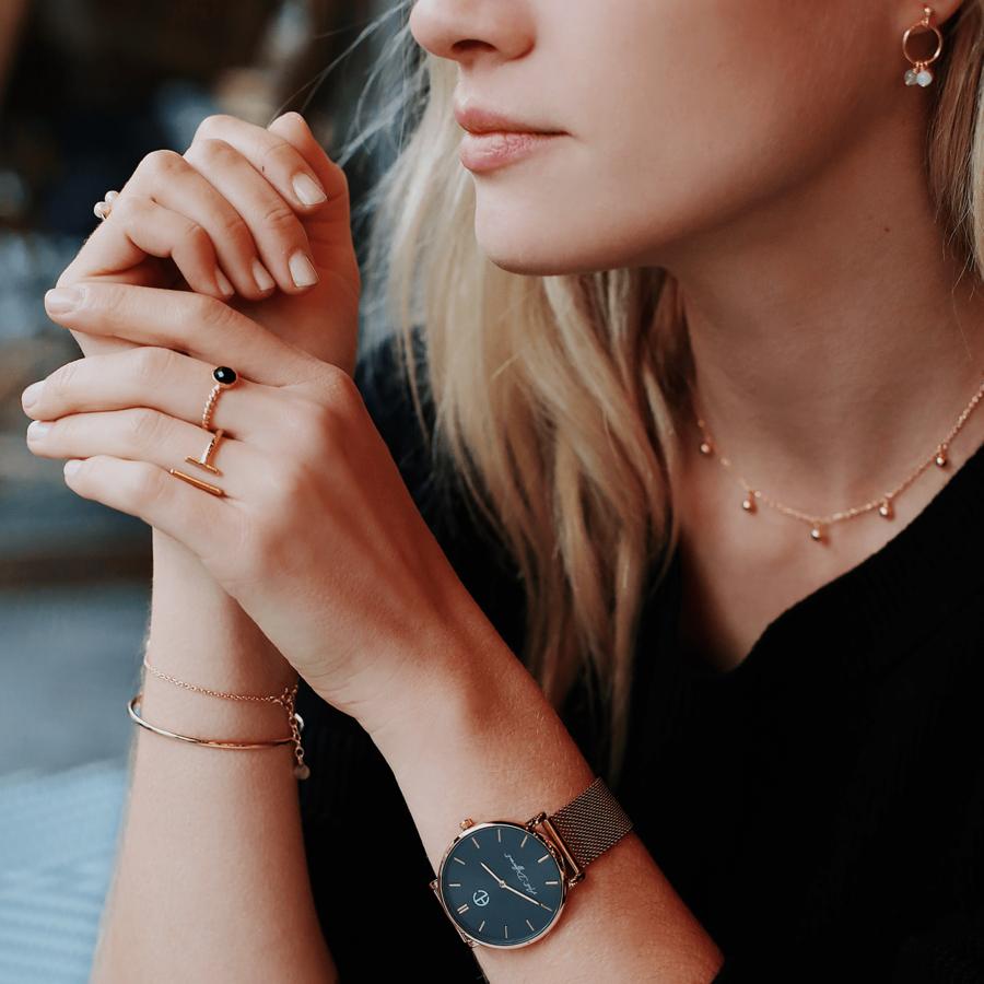 Montre bracelet milanais bague plaque or bijoux aglaiaco %281%29