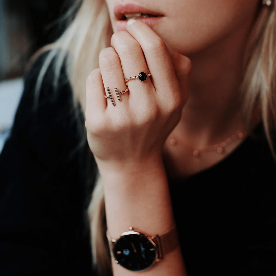 Montre bracelet milanais bague plaque or bijoux aglaiaco %282%29