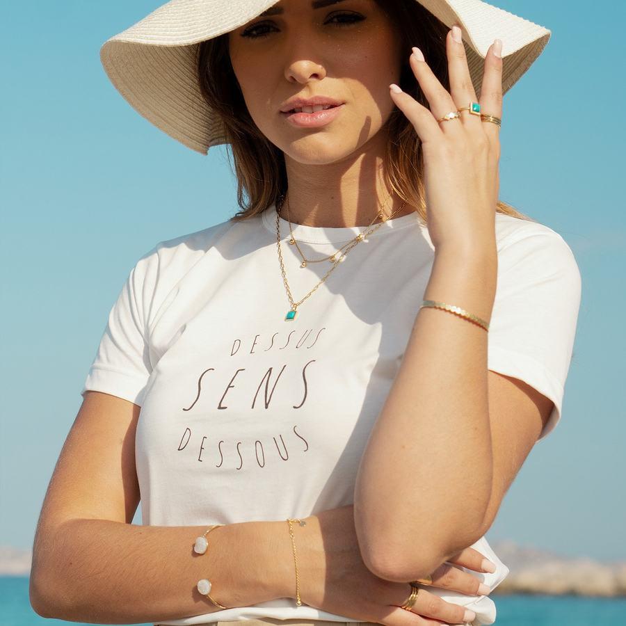 Tshirt coton bio bijoux plaque or turquoise ethique aglaiaco