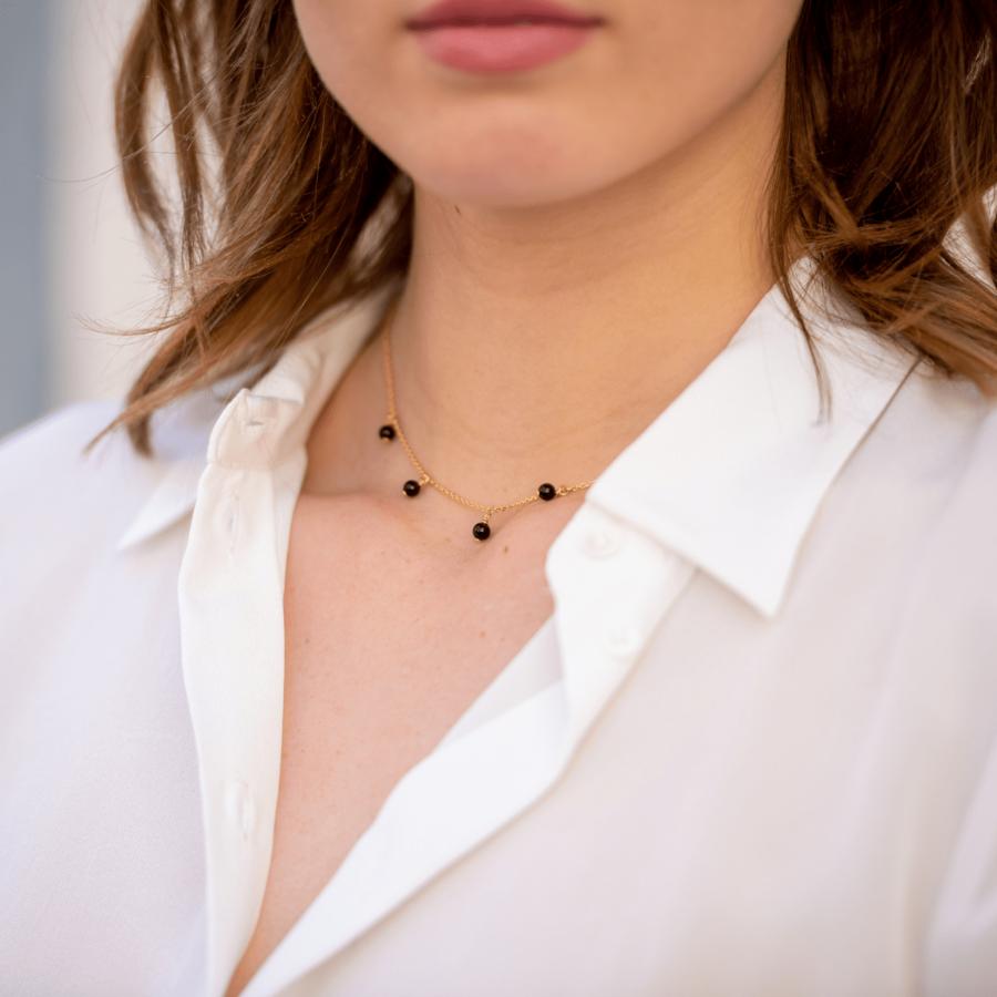 Bijoux %c3%a9thique aglaia collier plaqu%c3%a9 or onyx