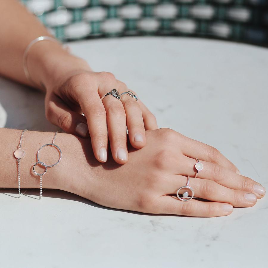Bague bracelet argent fin pierre calcedoine satellite aglaiaco