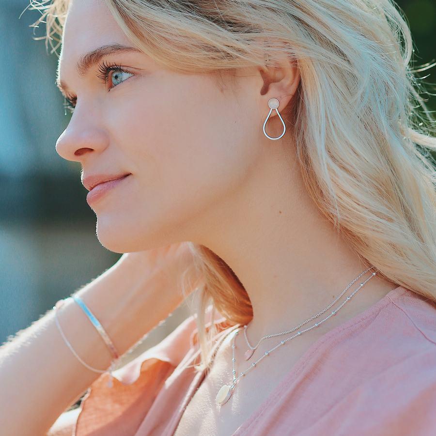 Boucles d'oreilles argent quartz rose ethical fashion aglaiaco %282%29