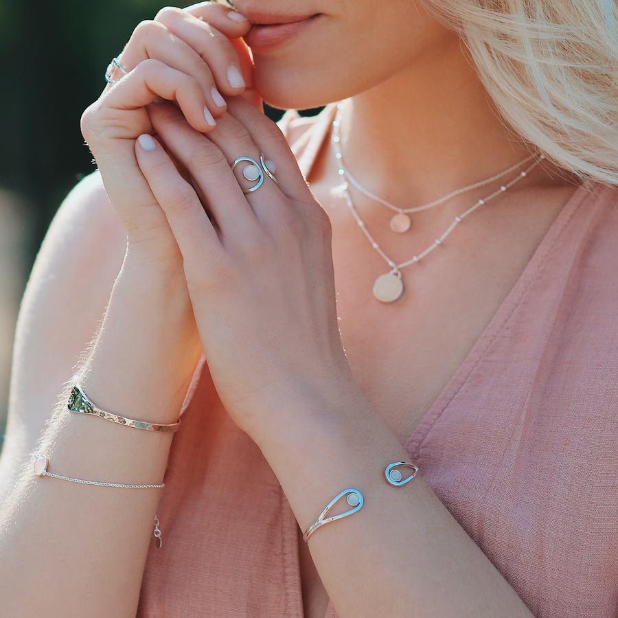 Jonc bracelet argent quartz rose pierre ethique aglaiaco %283%29