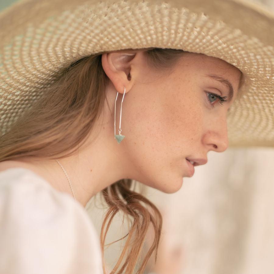 Boucles oreilles pendantes amazonite aglaiaco
