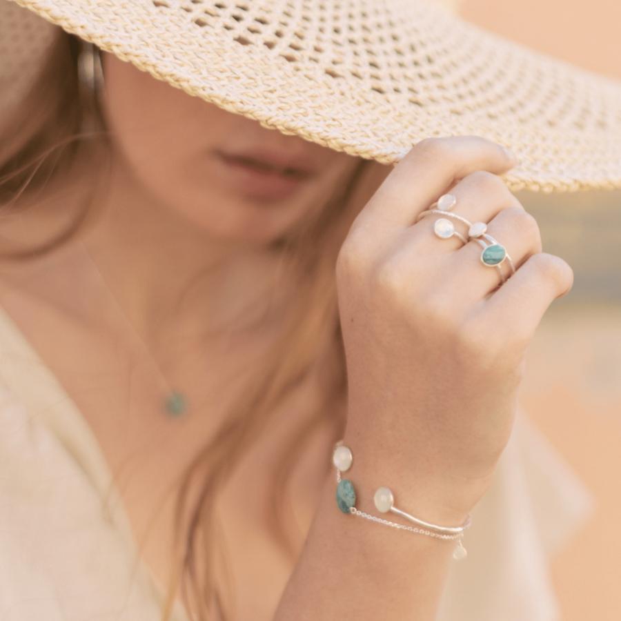 Bijoux argent made in france amazonite pierre de lune