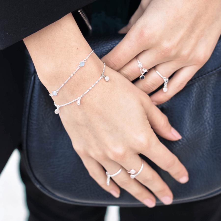 Bague bracelet argent pierre cabochon quartz rose aglaiaco