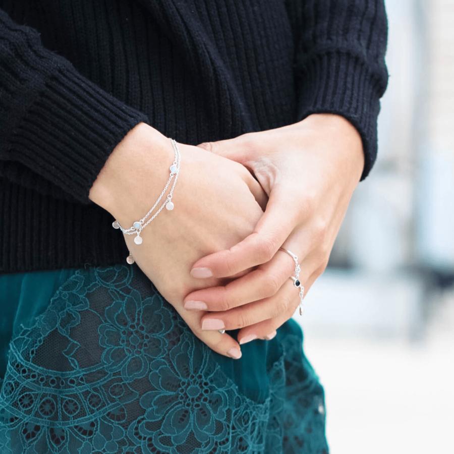 Bague bracelet argent pierre cabochon quartz rose onyx aglaiaco