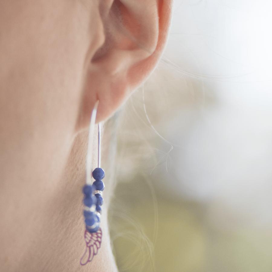 Creoles boucles oreilles bleu pierres plume reves aglaiaco %282%29