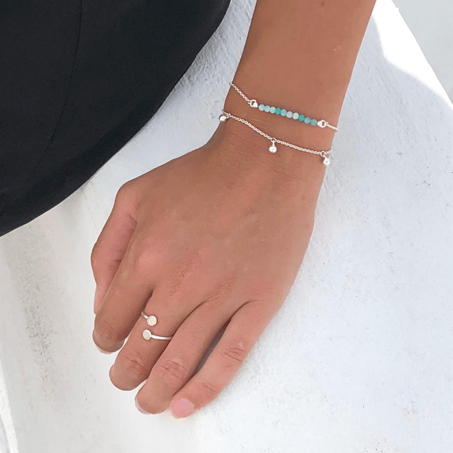 Bracelet pierre amazonite vert bague aglaiaco