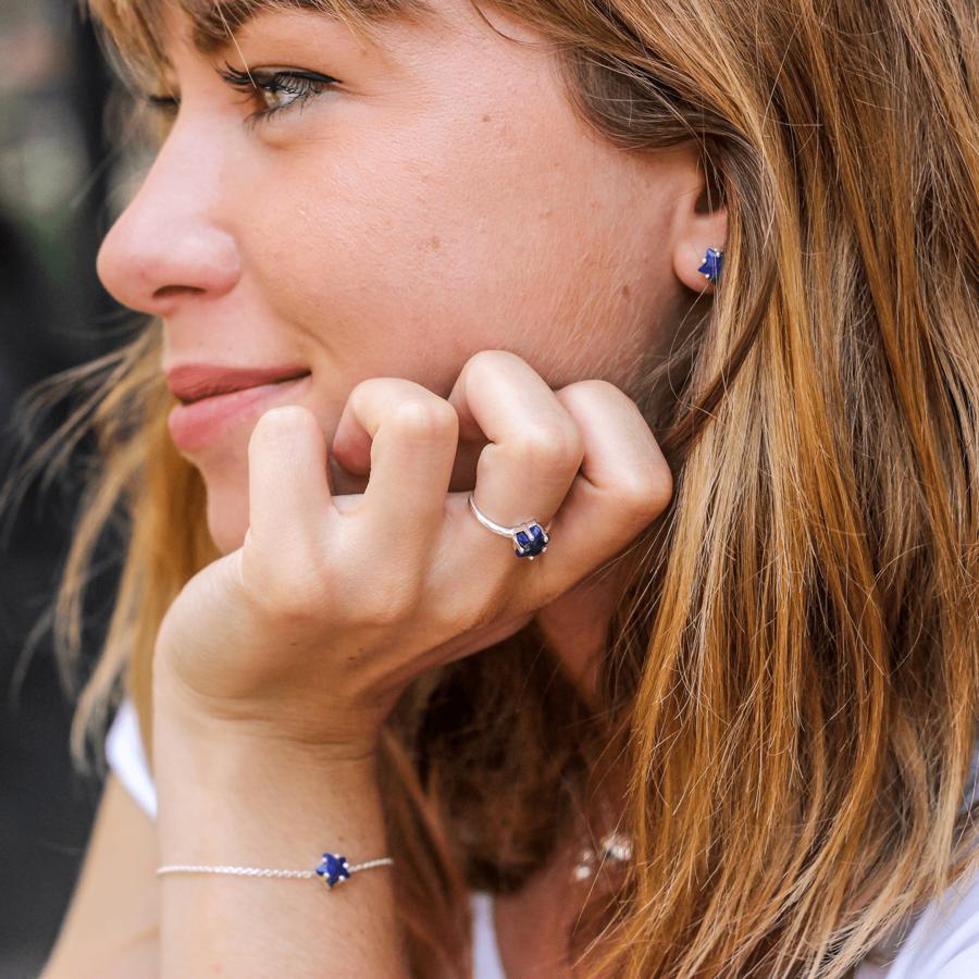 Bijoux argent etoile lune lapis lazuli bleu aglaiaco %2811%29