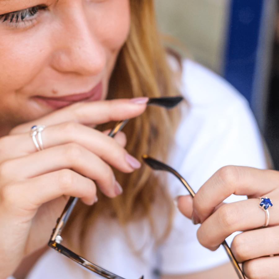 Bijoux argent etoile lune lapis lazuli bleu aglaiaco %288%29