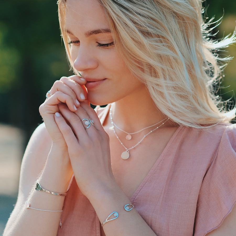 Jonc bracelet argent quartz rose pierre ethique aglaiaco %284%29