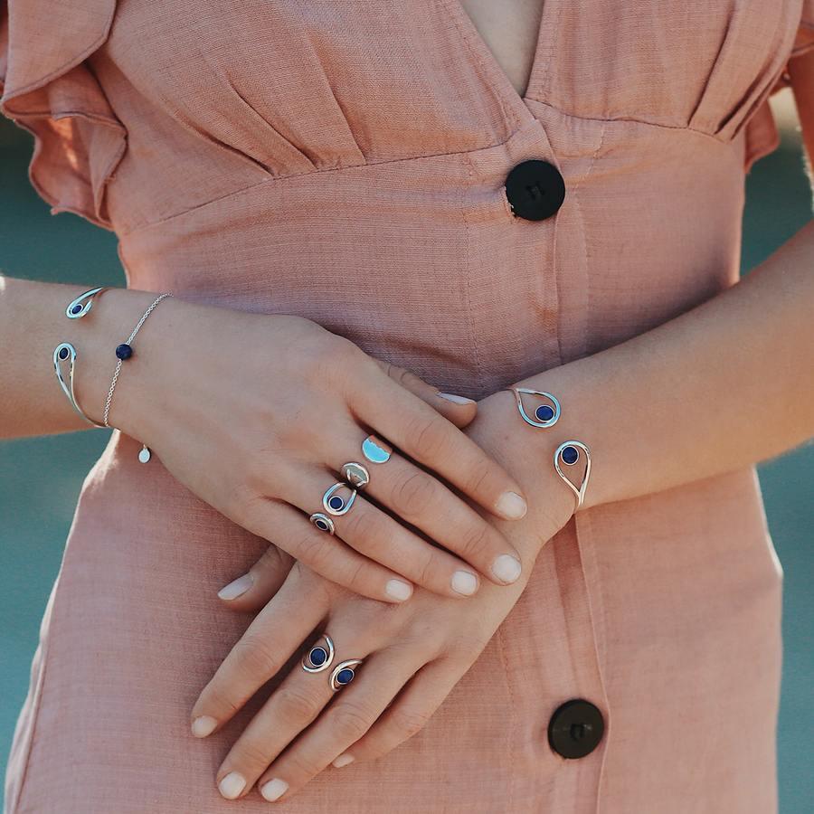 Bijoux bague jonc lapis lazuli bleu argent aglaiaco %284%29