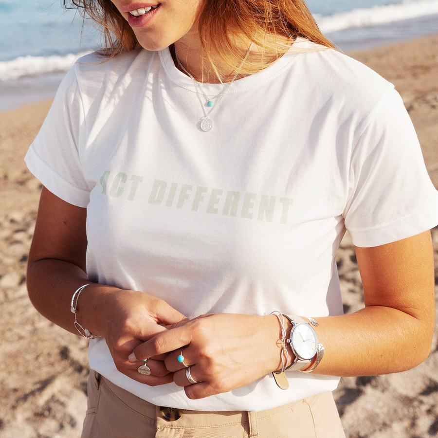 T shirt blanc coton bio gots col blanc act different aglaiaco