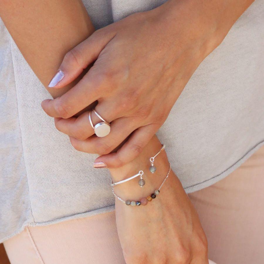 Bracelet argent pierre hematite labradorite