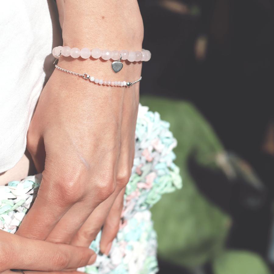 Bracelet argent pierre rose quartz pink agaiaco