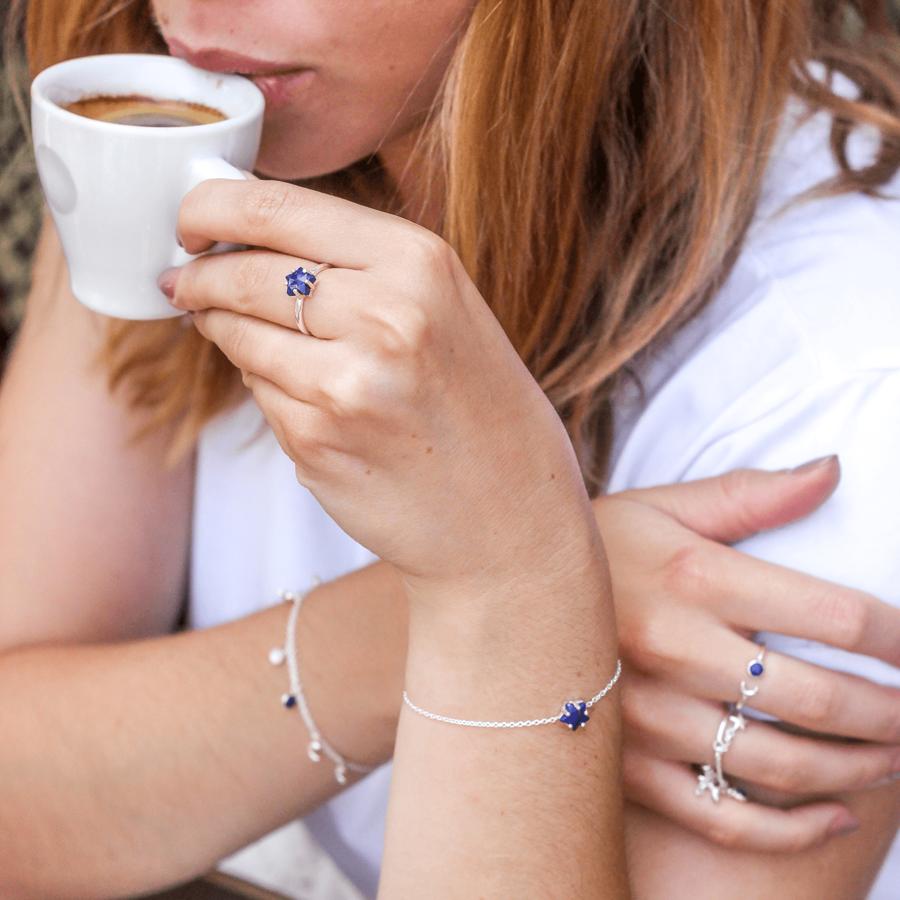 Bijoux argent etoile lune lapis lazuli bleu aglaiaco %2810%29