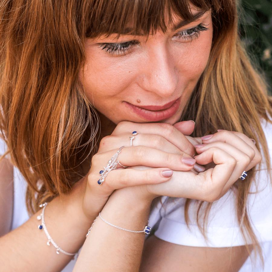 Bijoux argent etoile lune lapis lazuli bleu aglaiaco %2813%29