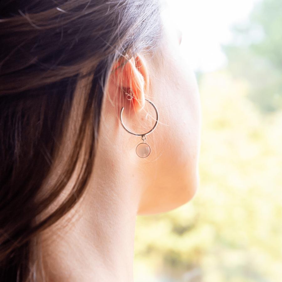 Boucles oreilles argent cr%c3%a9oles calcedoine rose aglaiaco