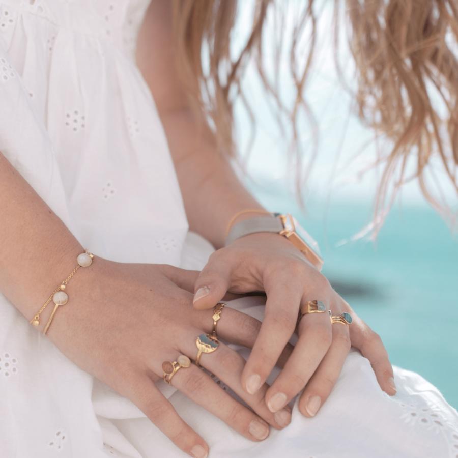 Bijoux plaqu%c3%a9 or pierre de lune %c3%a9thique