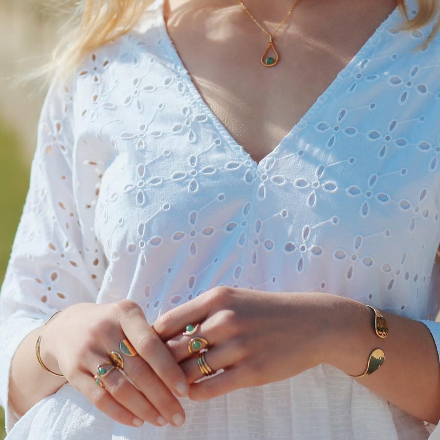 Collier fin plaque or aventurine bijoux bague aglaiaco %284%29