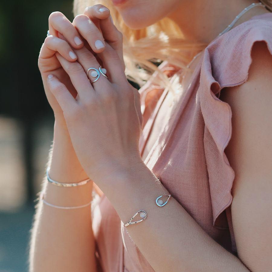 Jonc bracelet argent quartz rose pierre ethique aglaiaco %282%29