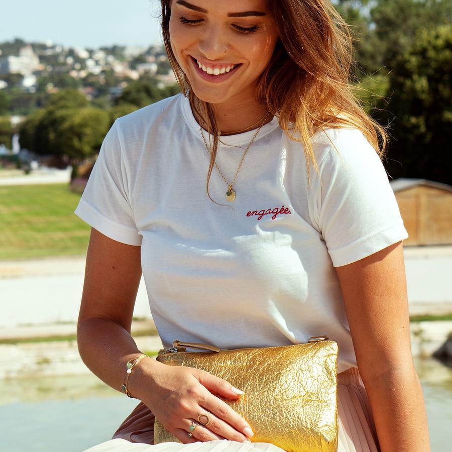 T shirt blanc coton bio brod%c3%a9 engag%c3%a9e france aglaiaco