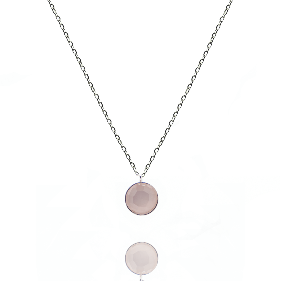 Collier argent mademoiselle calcedoine rose aglaiaco