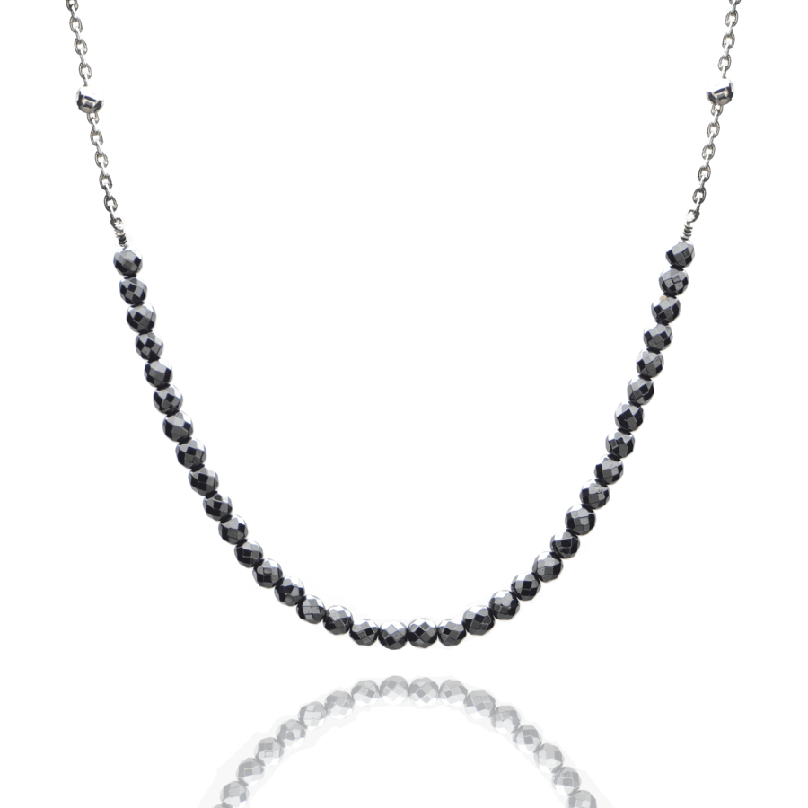 Aglaia bijoux argent pierre collier hematite sentiment contraire 1