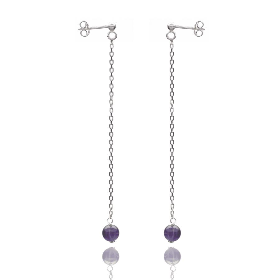 Aglaia bijoux argent pierre boucles oreilles pendant amethyste elegance eternelle 1