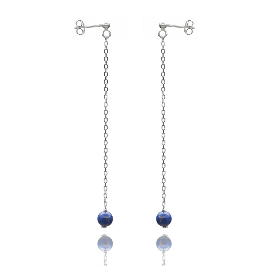 Aglaia bijoux argent pierre boucles oreilles pendant lapis lazuli elegance eternelle 1