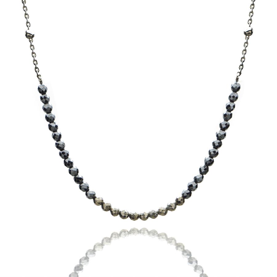 Aglaia bijoux argent pierre collier hematite pyrite sentiment contraire 1