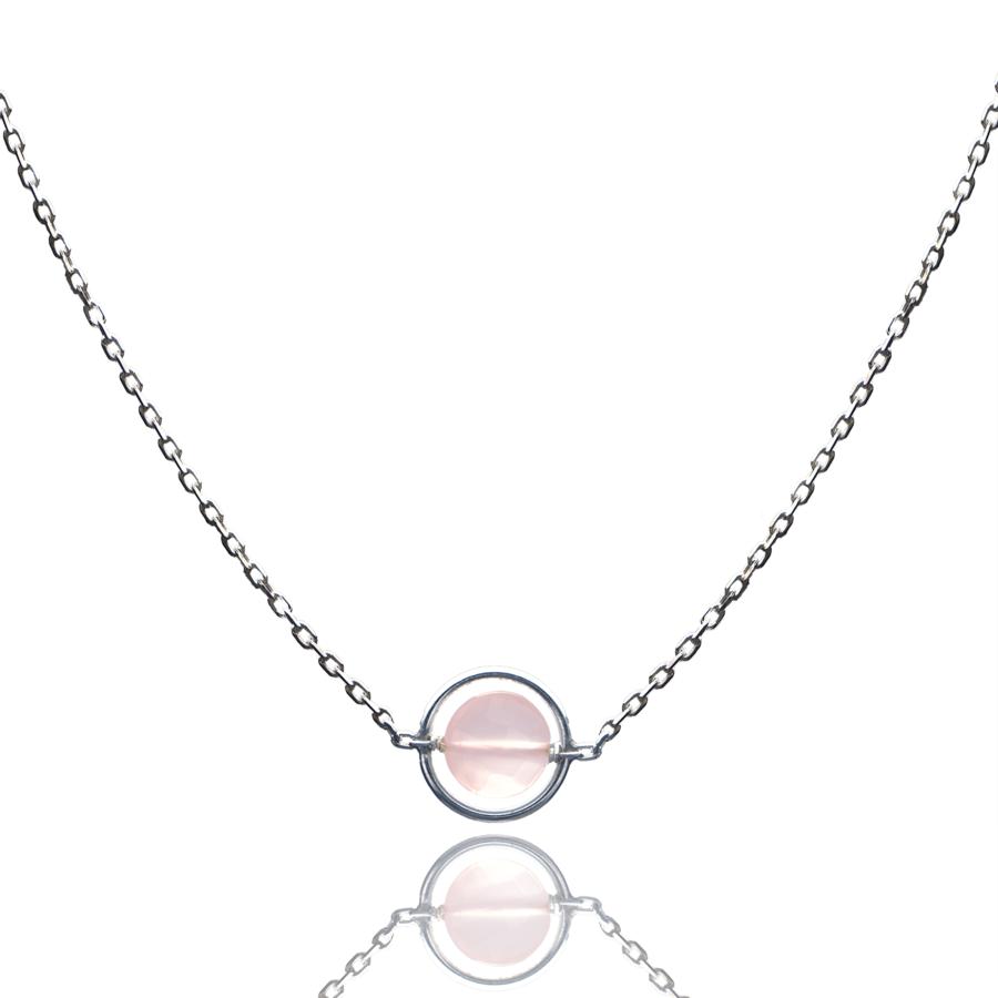 Aglaia bijoux argent pierre collier anneau calcedoine rose o 1