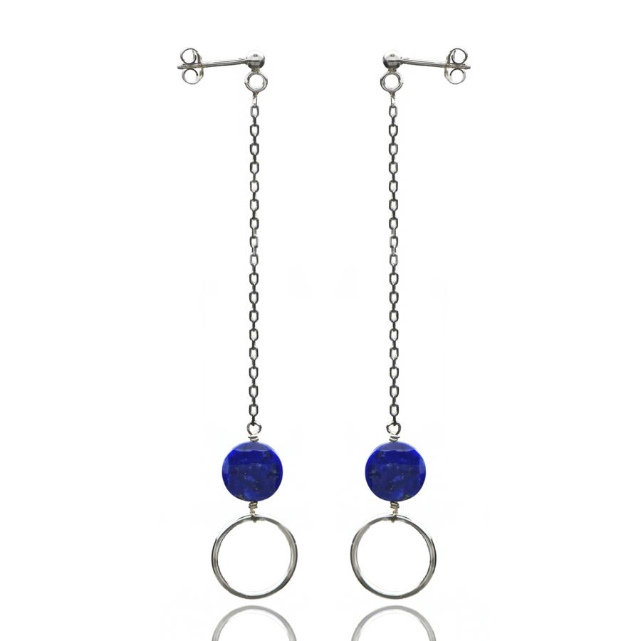 Aglaia bijoux argent pierre boucles oreilles pendantes lapis lazuli o 1