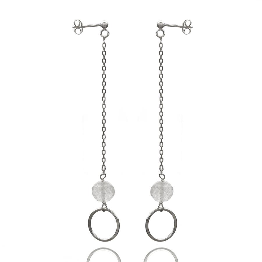 Aglaia bijoux argent pierre boucles oreilles pendantes labradorite o 1