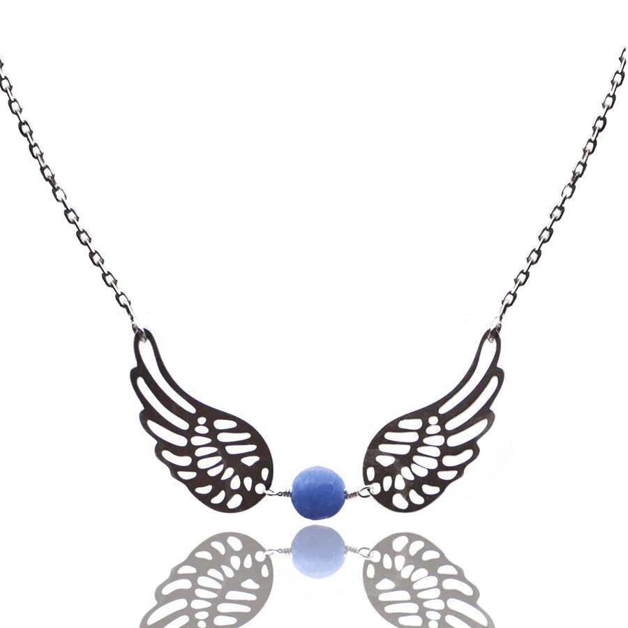 Aglaia bijoux argent pierre collier aile ange reve eau profonde 1