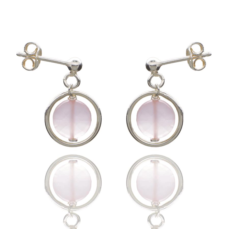Aglaia bijoux argent pierre boucles oreilles puce calcedoine rose o 1